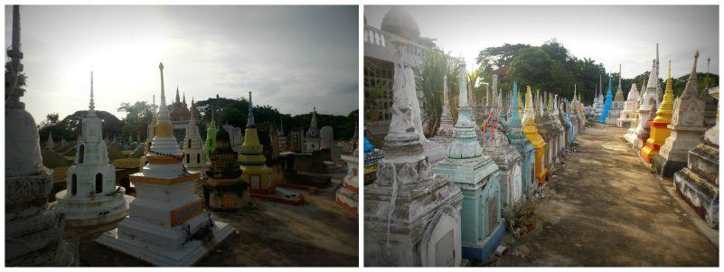 Tombes colorées cimetière Kanchanaburi
